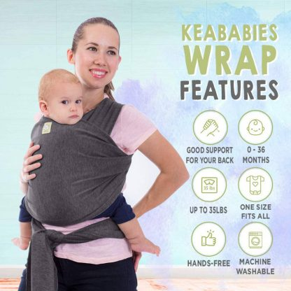 KeaBabies Baby Wrap Carrier Mystic Gray 1