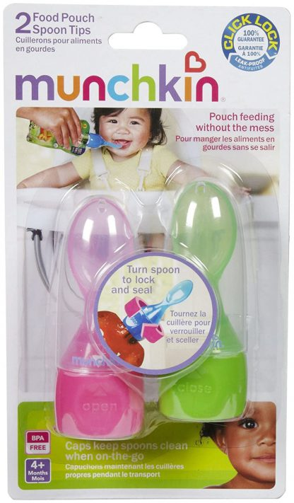 Munchkin click lock food pouch spoons 2